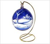 Cobalt Blue 4-1/2'' Ornament with Canaan Valley design by Kim Barley